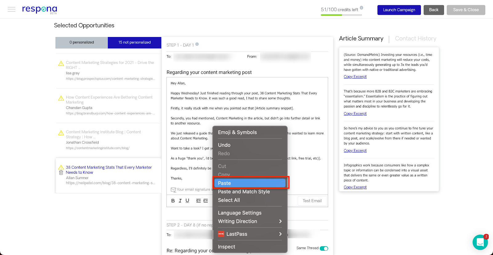 Personalizing pitches with article summary snippets