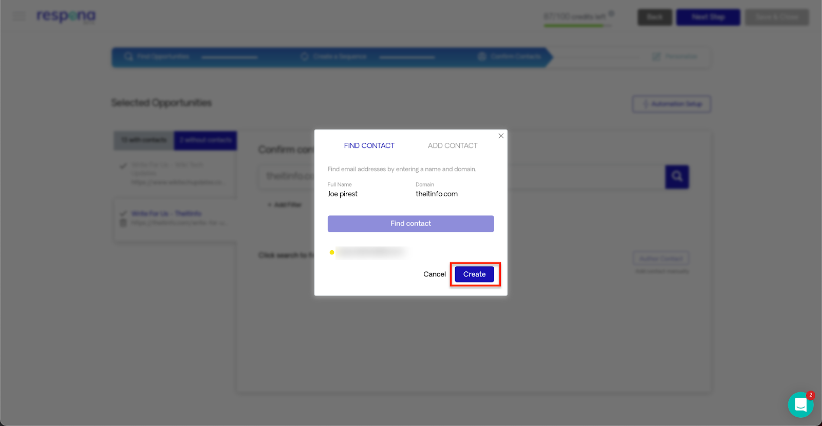 assigning found contact automation