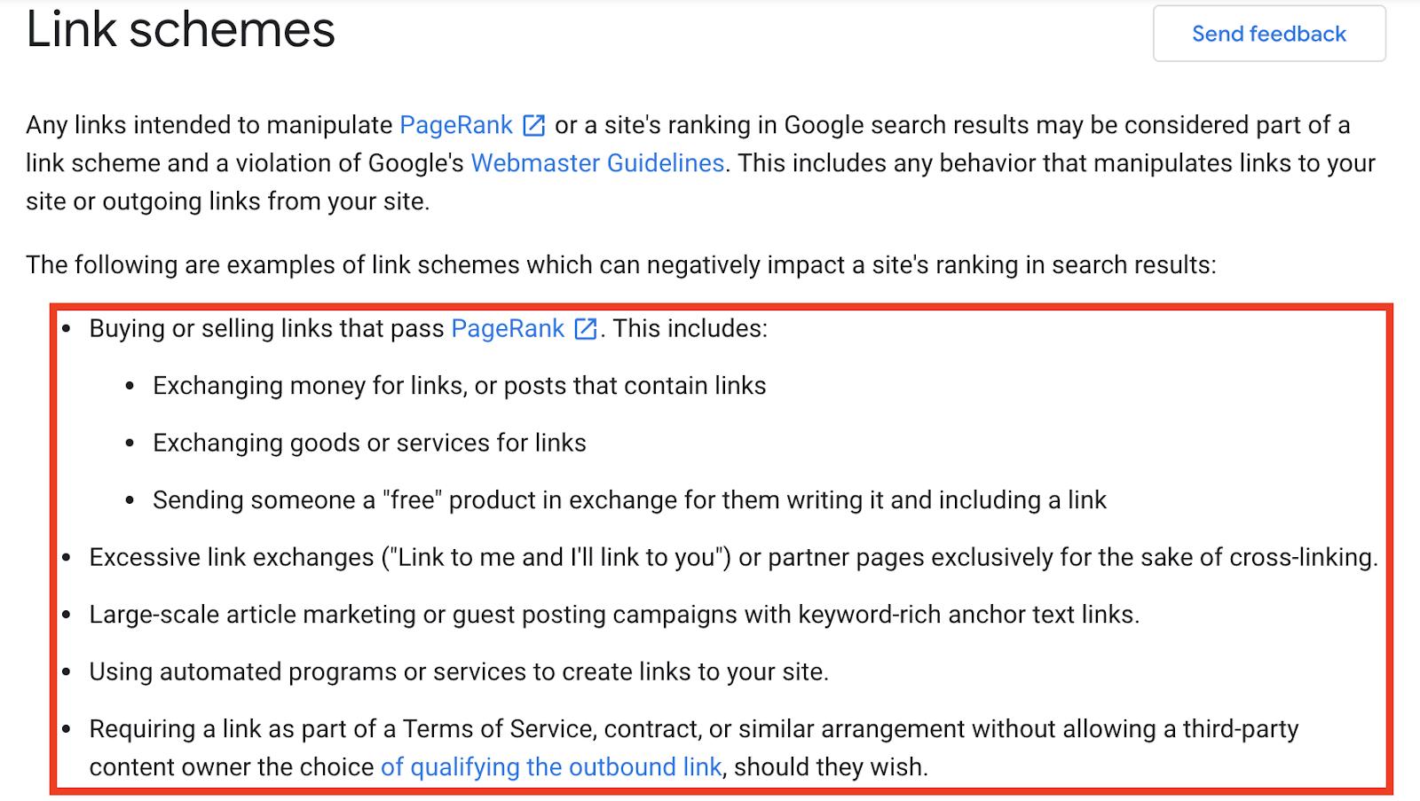 Google link schemes