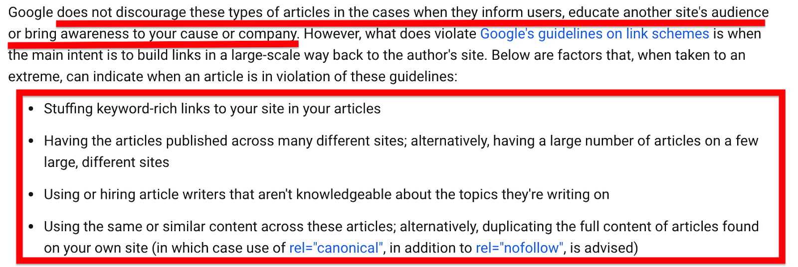 Google guidelines on guest posts
