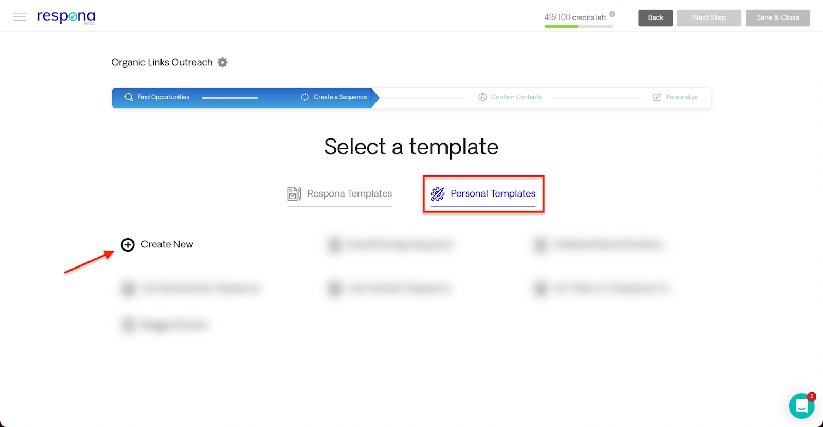 Personal templates tab