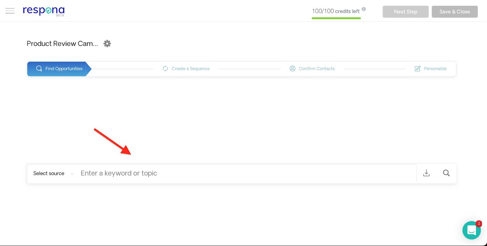 Respona live content search engine