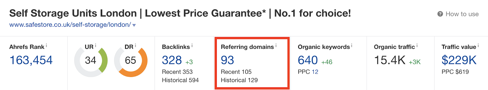 Number of referring domains 1