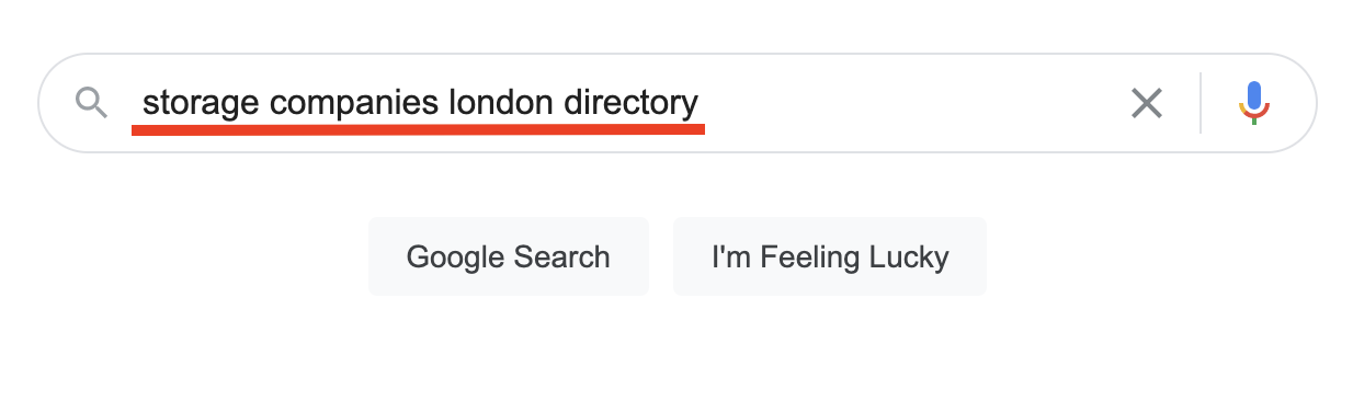 Google search for London storage companies