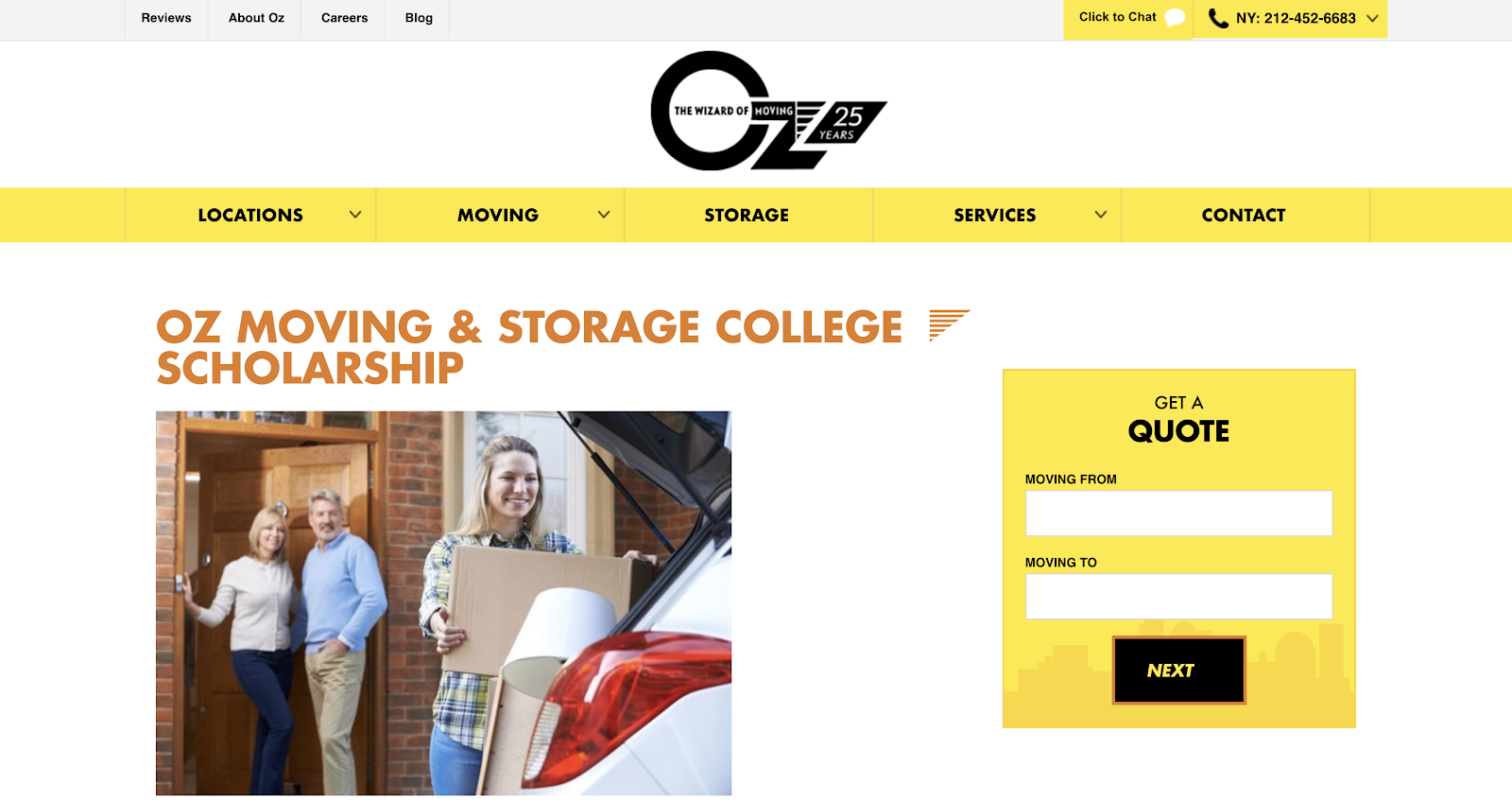 Oz Moving and Storage home page
