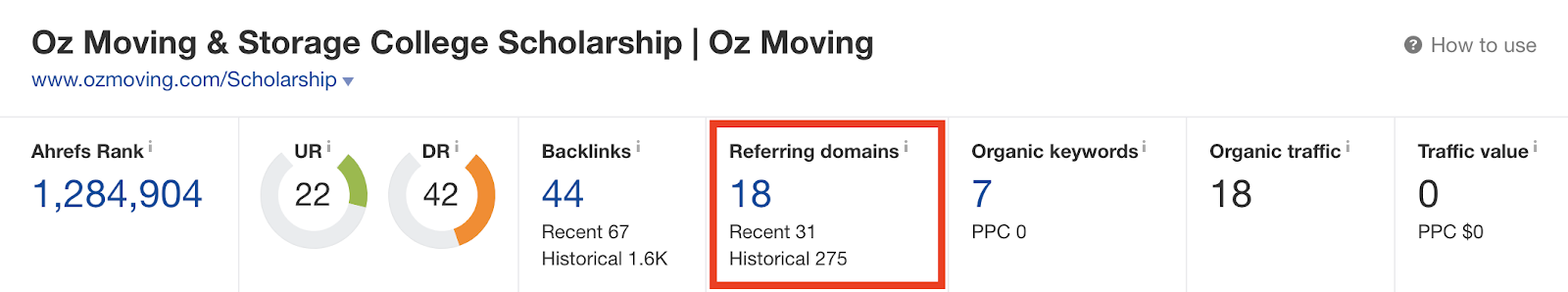Oz Moving and Storage backlink profile