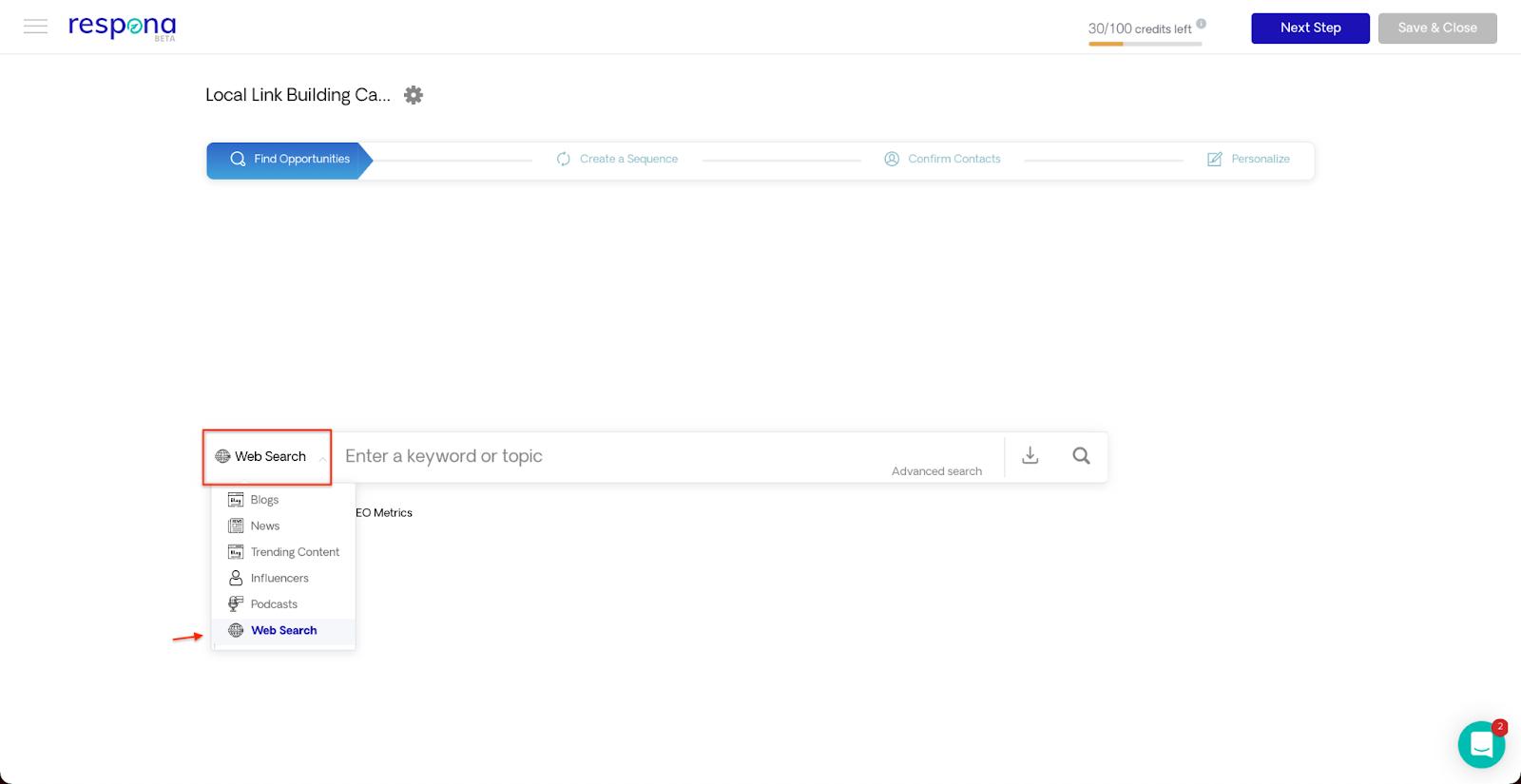 Respona Web Search source