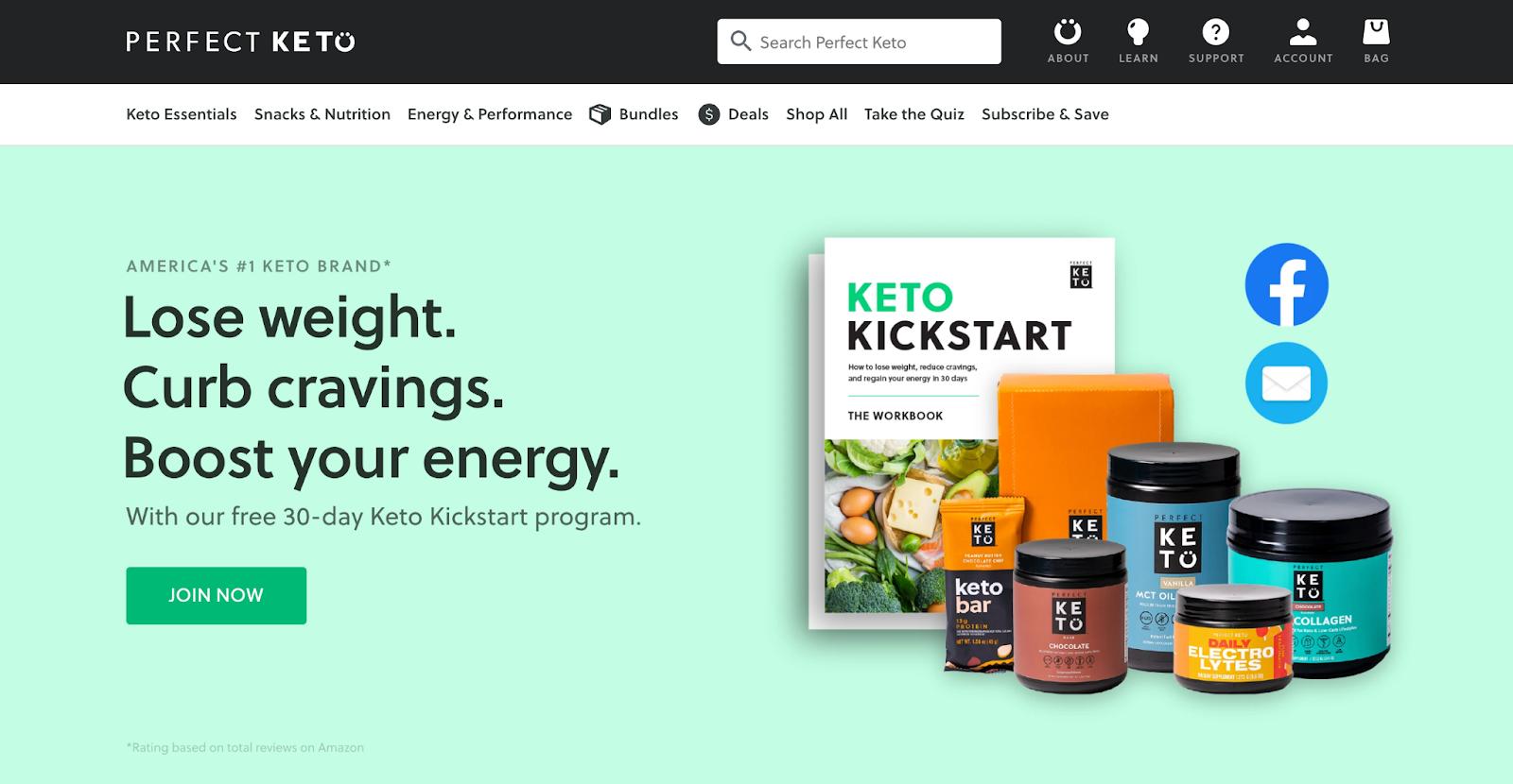 Perfect Keto home page