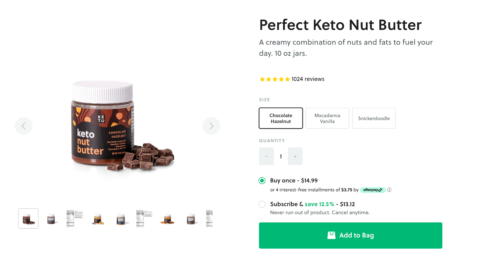 Perfect Keto Nut Butter product page