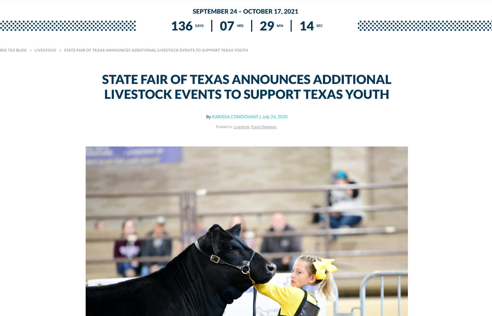 Texas state fair press release