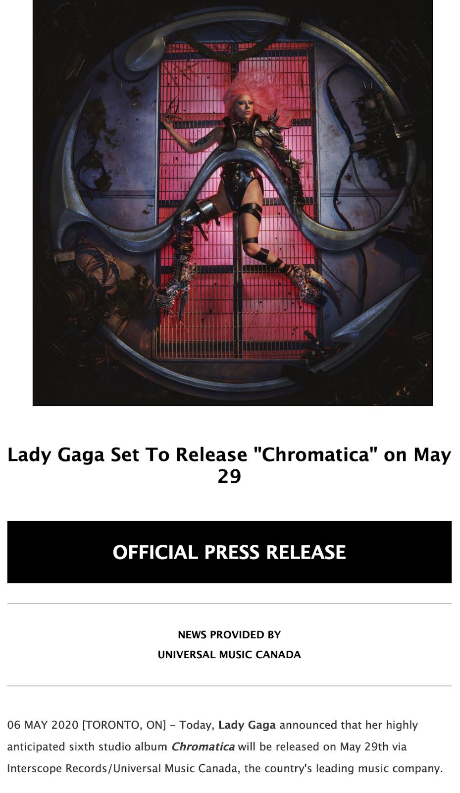 Lady Gaga press release