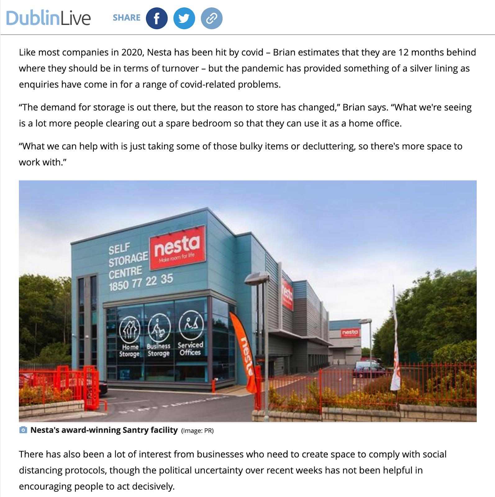 Nesta Storage feature in DublinLive