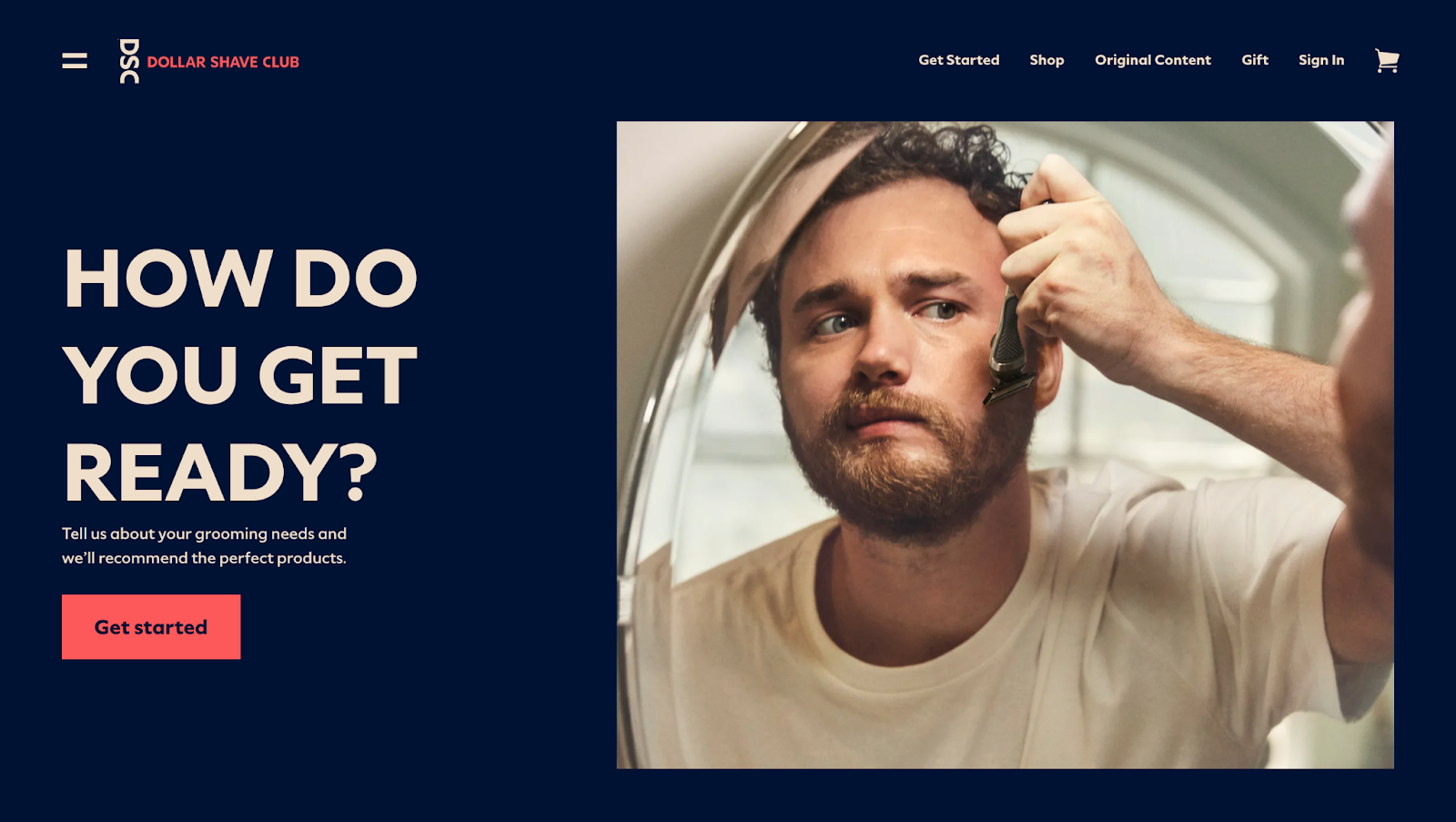 Dollar Shave Club home page