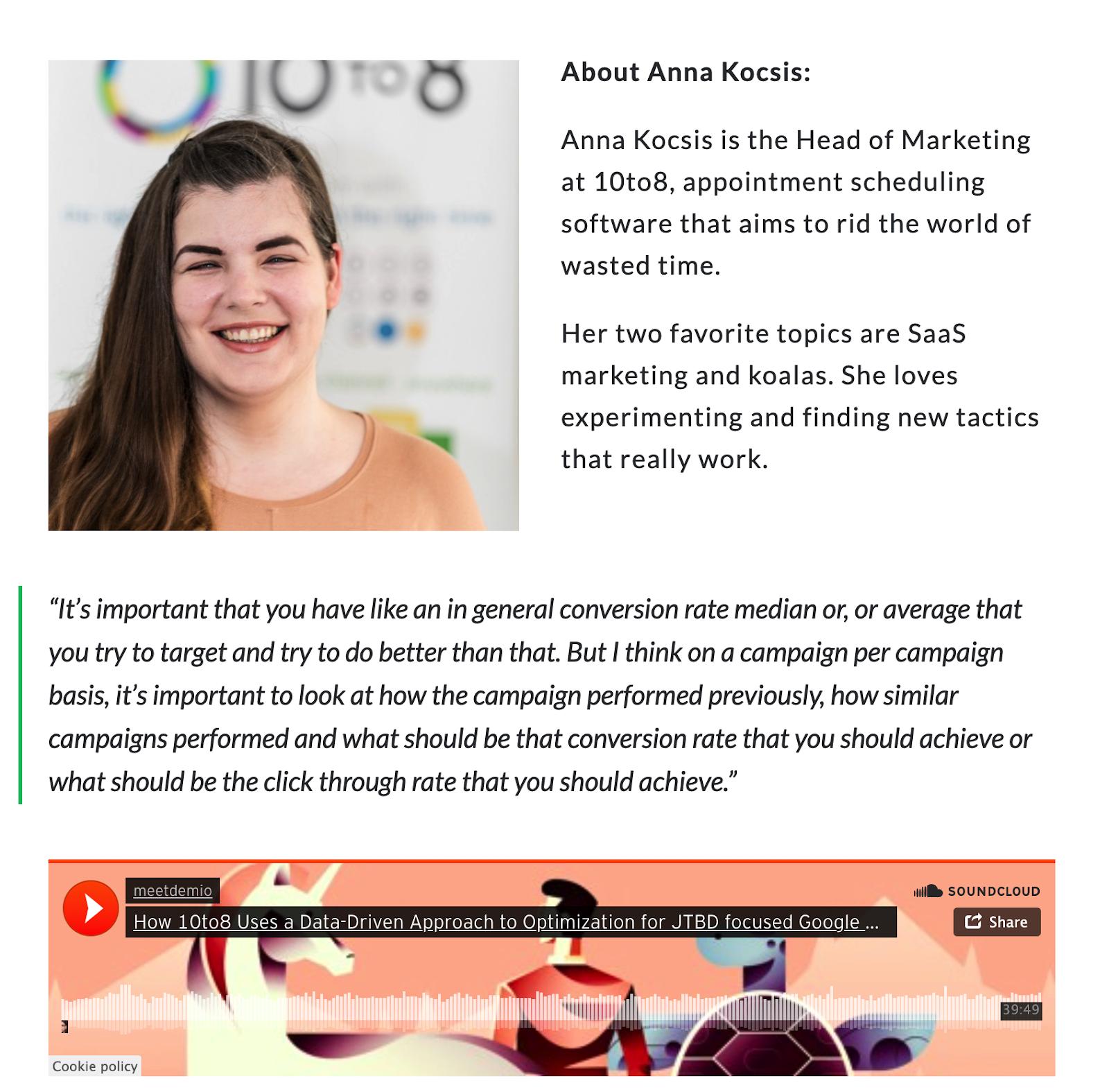 Anna's podcast feature on Demio