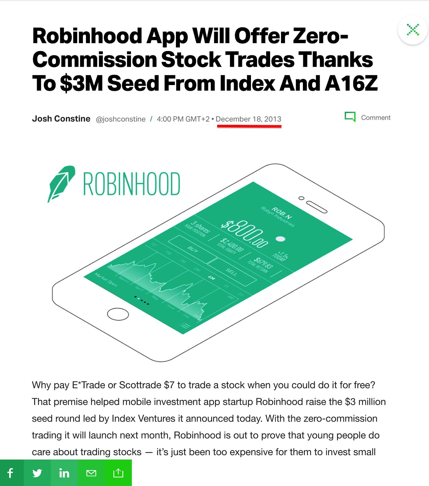 Robinhood feature on TechCrunch