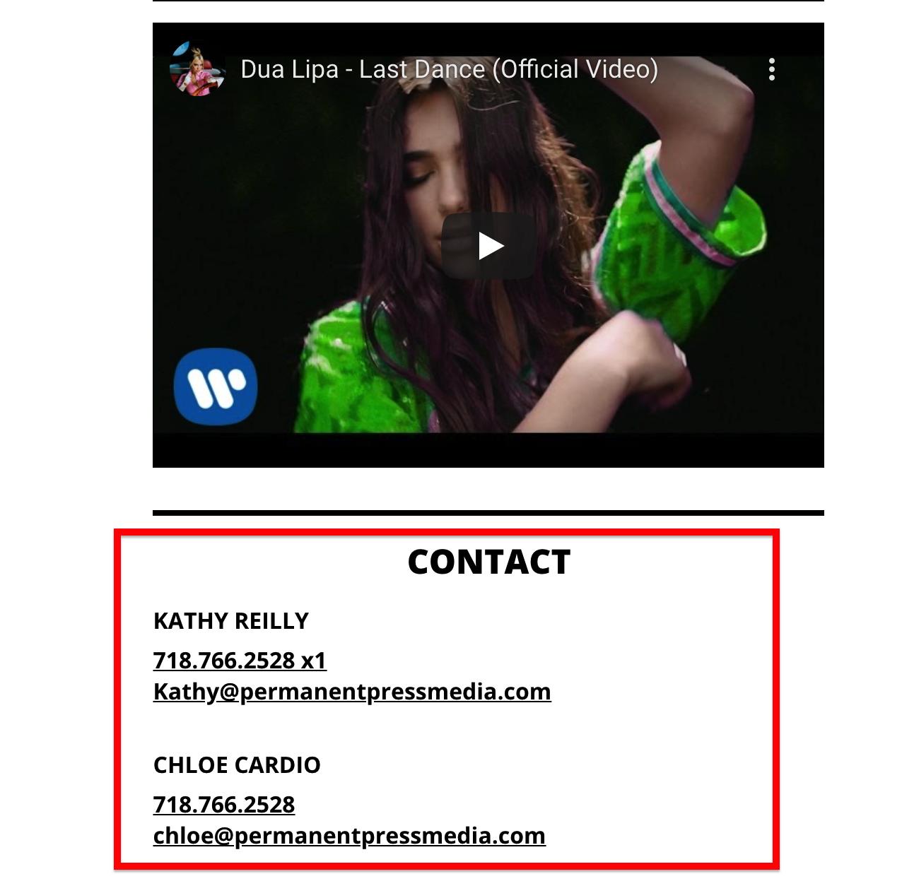 Artist contact information