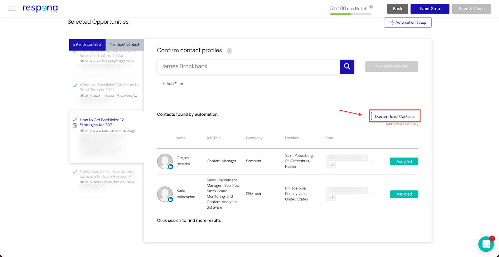 Domain level contact button