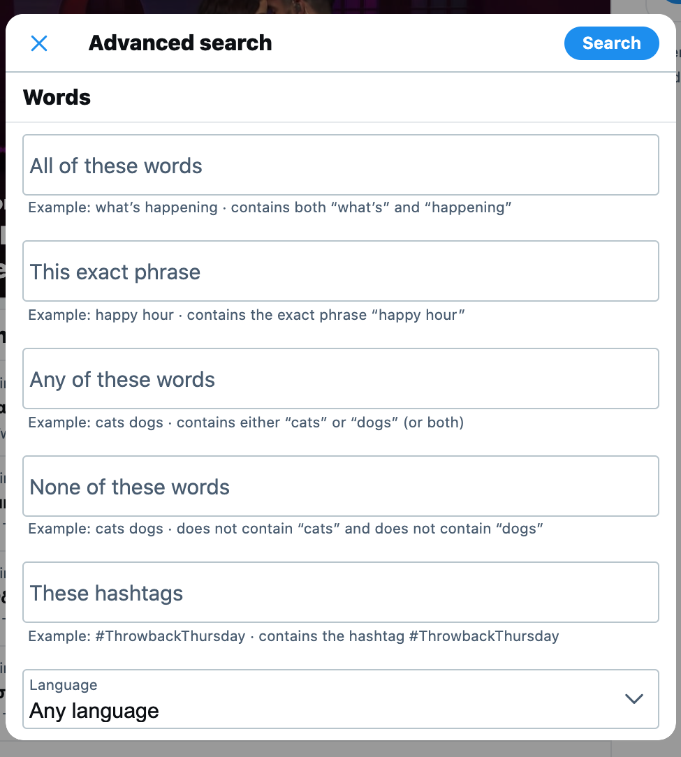 Twitter contact search