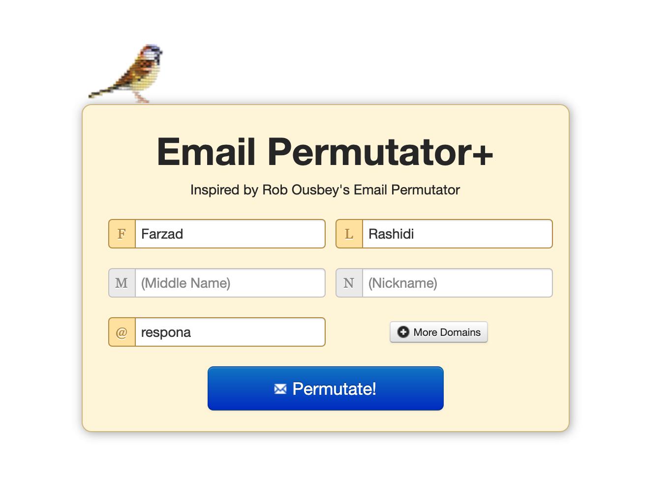 Email permutator example