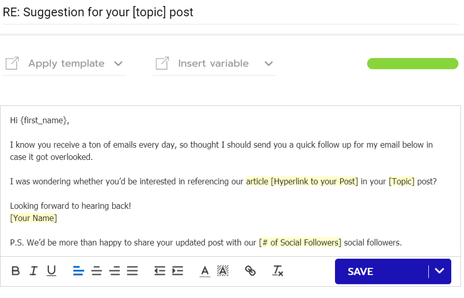 A follow up email template for content promotion outreach campaign.