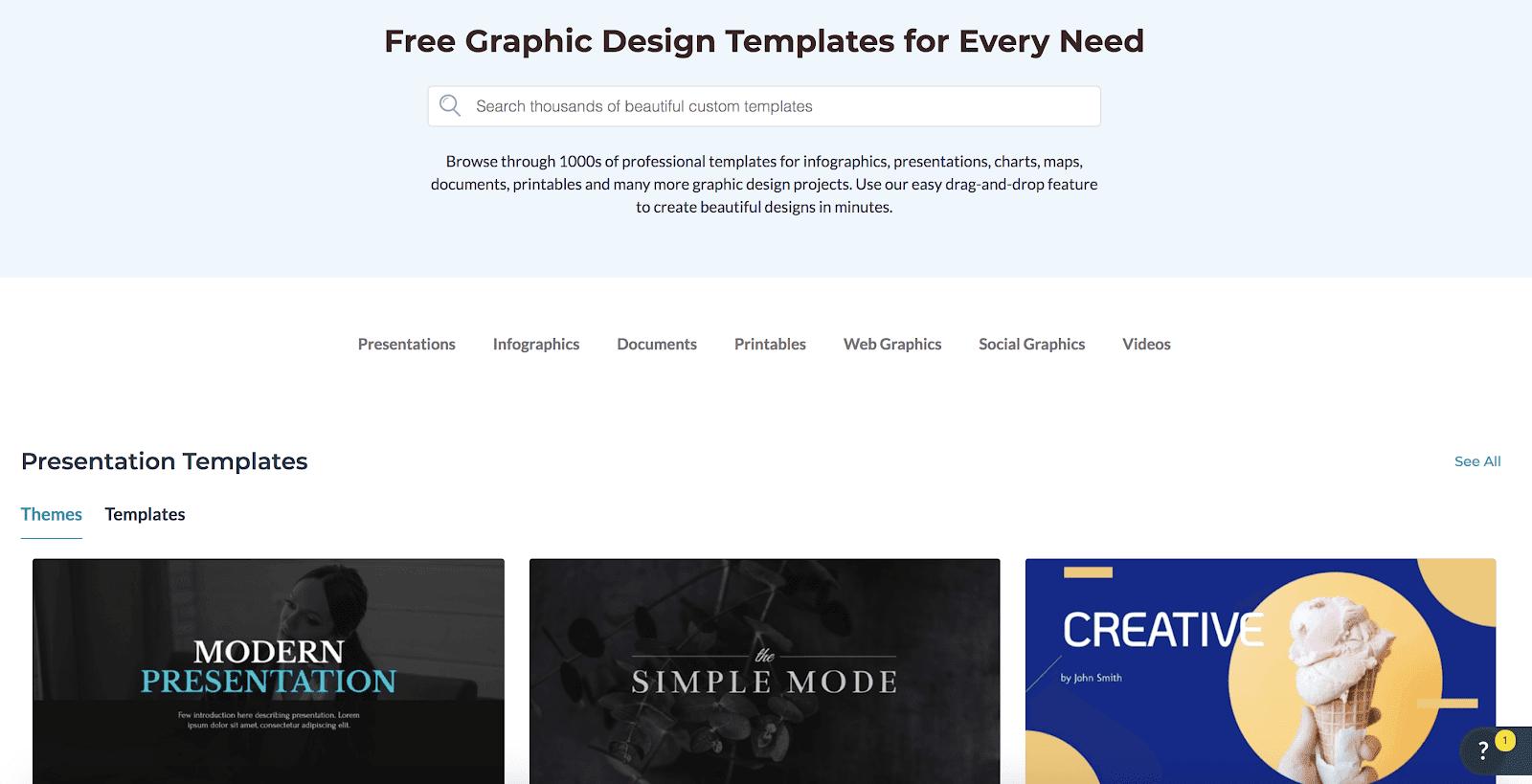 Visme graphic templates
