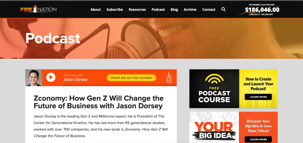 Entrepreneurs on Fire podcast page
