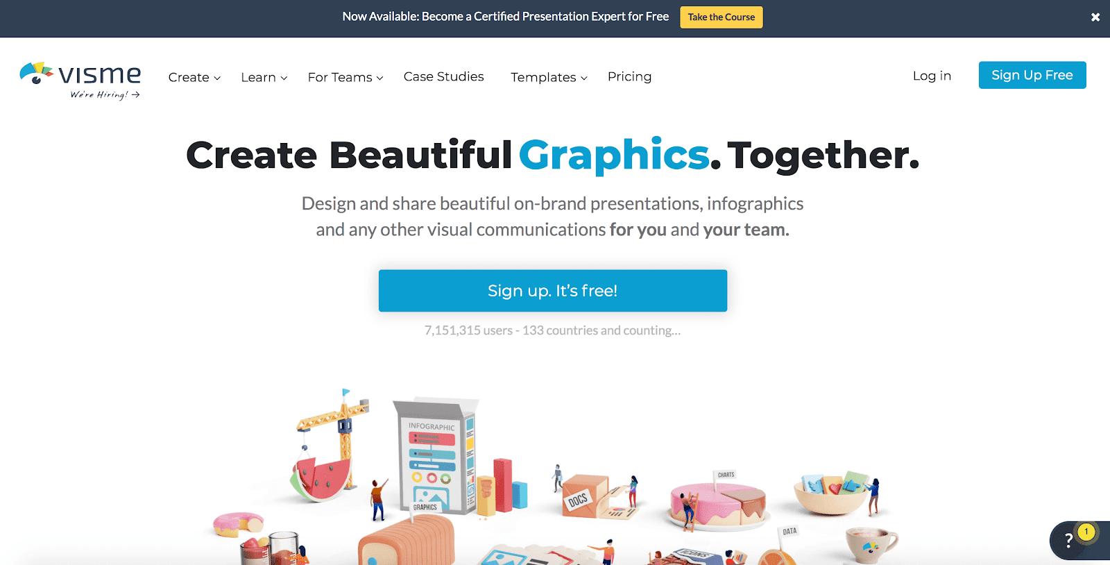 Visme home page