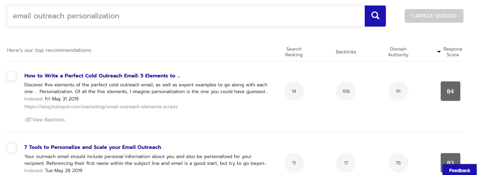 personalization search respona