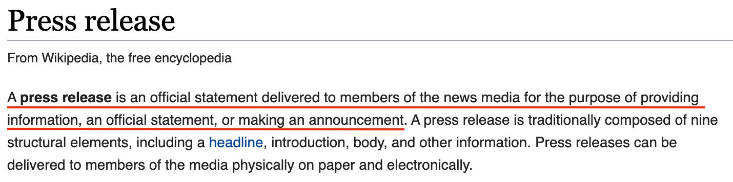 press release wikipedia