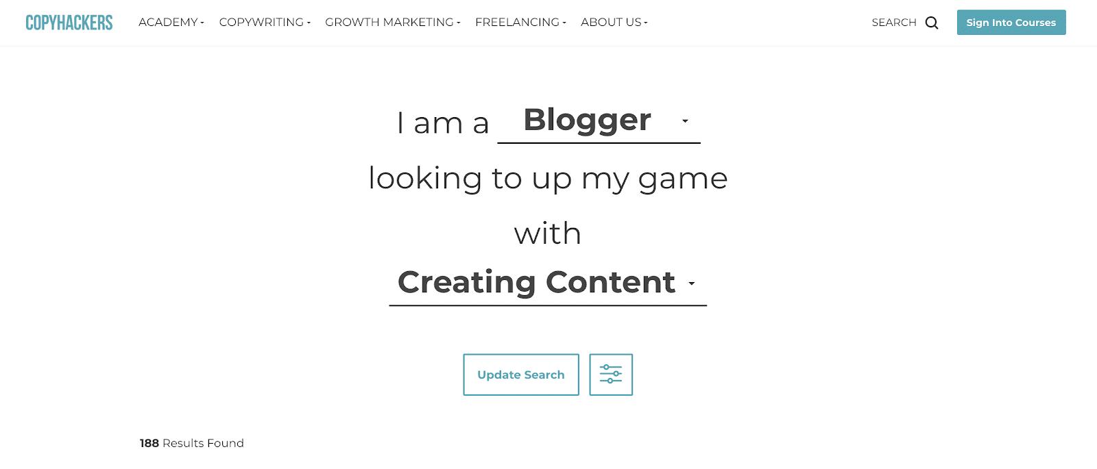 Copy Hackers blog page