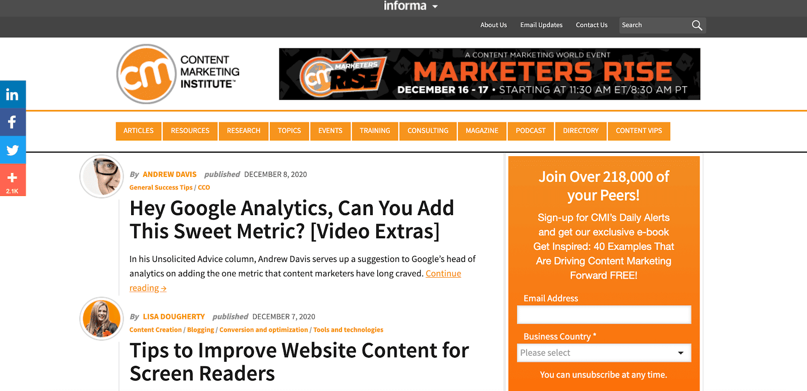 Content Marketing Institute blog page
