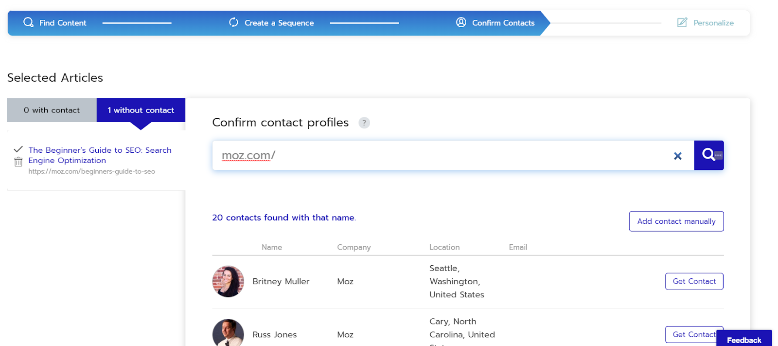 respona contact profiles