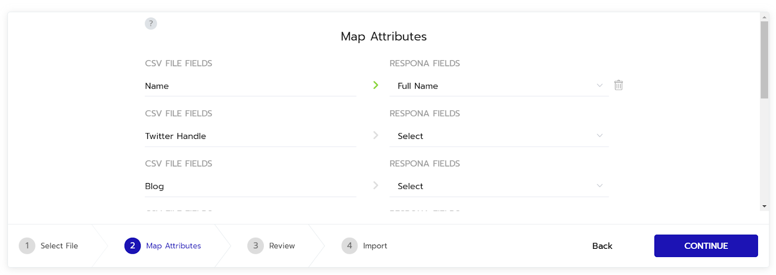 respona map attributes