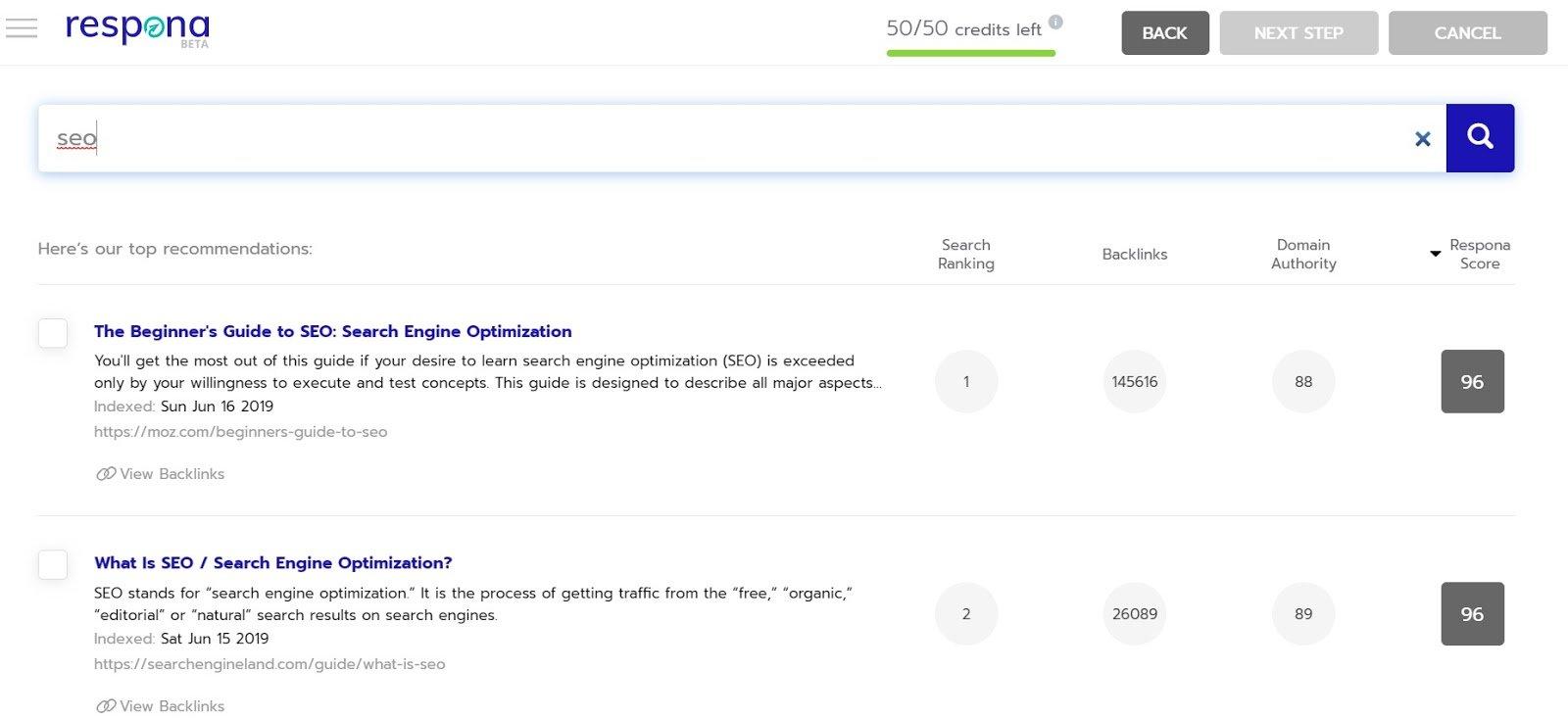 respona seo search