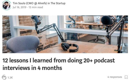 Article by Tim Soulo discussing what he has learned on podcast interviews.