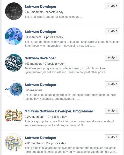 software developer groups