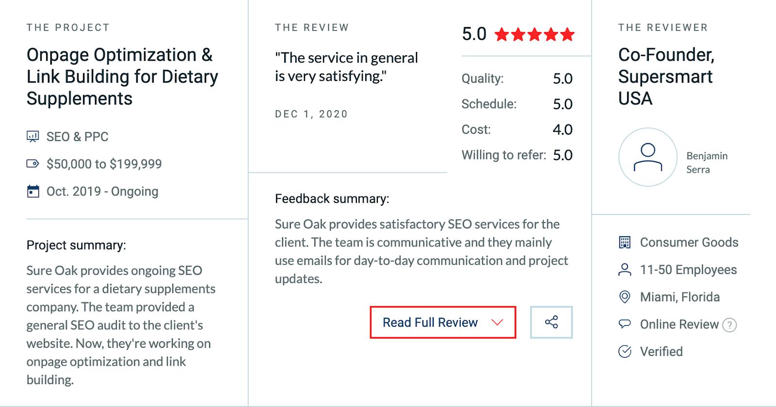 Sure Oak customer reviews