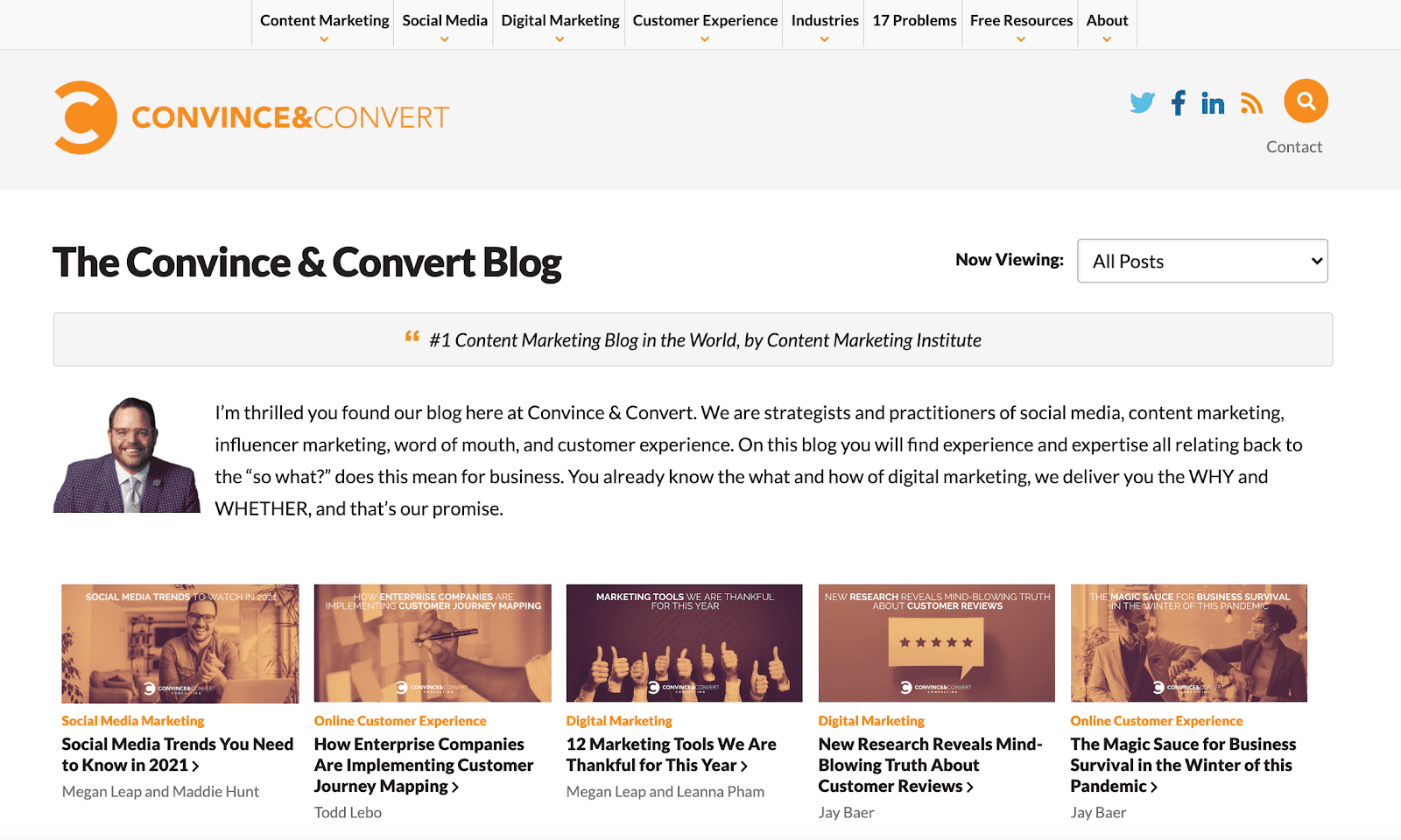 Convince and Convert blog page