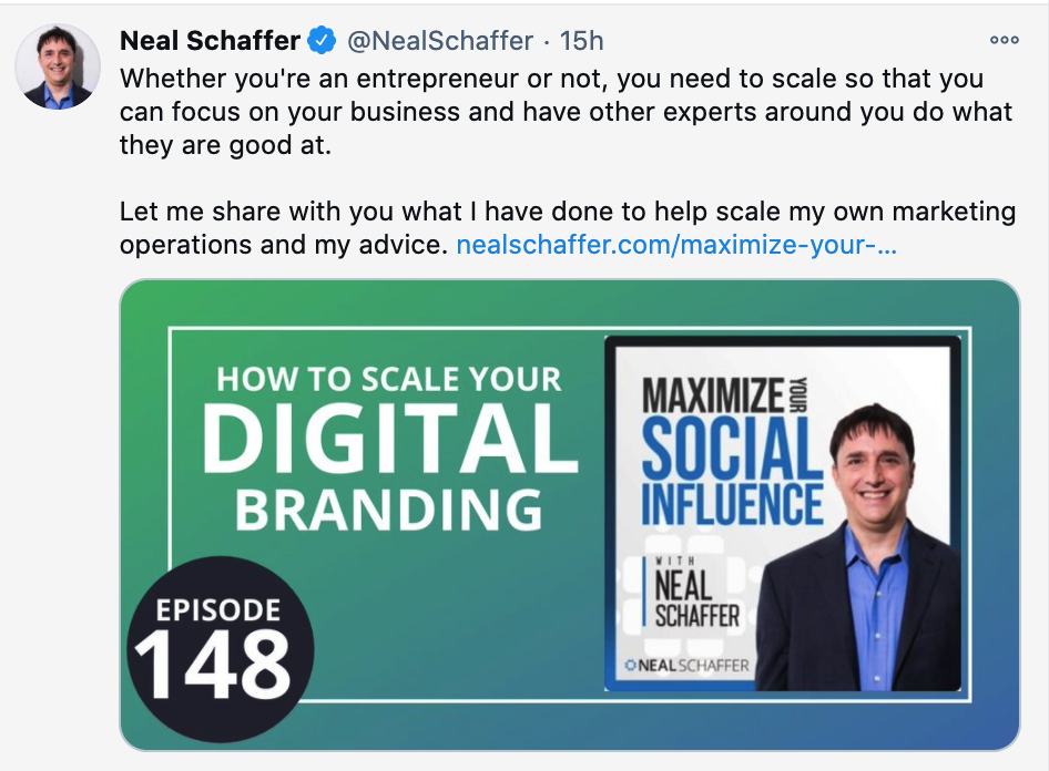 Twitter post about Neal Schaffer's podcast