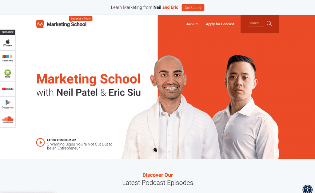 Marketing School podcast page